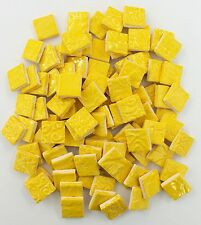 100 Handmade YELLOW SQUARE Mosaic Ceramic Tiles - 3/4""