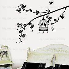 Arbre & Oiseau Cage wall stickers removable art decal home decor chambre papier peint