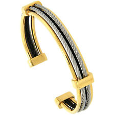 "7"" Stainless Steel Tri-Color Cable Golf Cuff Bracelet"