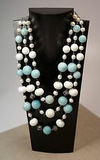 Lori Bonn Sterling Silver Amazonite Fresh Water Pearl 3 Strand Necklace