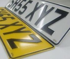 BMW - PAIR OF PRESSED METAL (EMBOSSED) NUMBER PLATES   WITHOUT GB LOGO