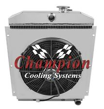 "Champion 3 Row Radiator 1947-1954 Chevy Pickup Truck With Shroud & 16"" Fan"