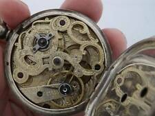 Touchon Geneve Swiss Pocket Watch W Key Hand Engraved Movement Silver