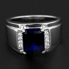 Size 9 COOL Handmade Jewelry Mens 925 Silver 3ct Blue Sapphire Band Ring GIFT