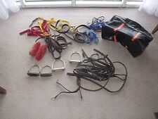 BARN FIND BUNDLE HORSE HARNESS STIRRUPS BIT BRUSHES USED ALL IN PHOTO LEATHERS
