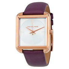 New Michael Kors Lake Purple Leather White Dial Rose Gold Women's Watch MK2585