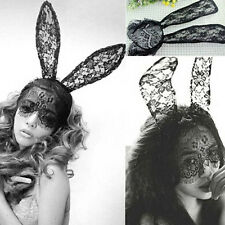High Quality Cute Lady Gaga Black Lace Bunny Ears Veil Black Mask Headband Decor