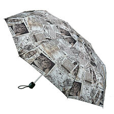Fulton Stowaway Deluxe Manual Folding Umbrella - 'Old News' Black & White