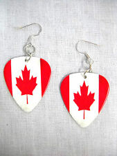 CANADIAN FLAG RED & WHITE MAPLE LEAF CANADA 2 SIDED PRINTED GUITAR PICK EARRINGS