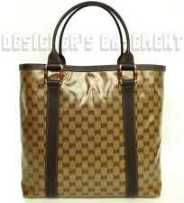 GUCCI ebony/beige Crystal JOY coated GG Canvas BAMBOO Rings TOTE bag NWT Authent