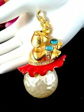 RARE KENNETH J. LANE GOLD PLATED FAUX PEARL RHINESTONE ELEPHANT TUTU BROOCH BOOK