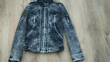 Bnwt Alexander McQueen Women's 8 denim black & grey distressed  racing Jacket