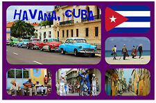 HAVANA, CUBA - SOUVENIR NOVELTY FRIDGE MAGNET - FLAGS / SIGHTS - NEW / GIFT