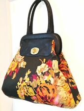 ICING Shoulder Bag Shopper Tote Black Faux Croc Leather Trim Multi Color Flower