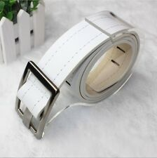 Fashion mens womens New Faux Leather edge Sewing thread buckle belt DS