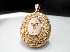 SUPERB LARGE 15CT GOLD SEED PEARL VICTORIAN LOCKET