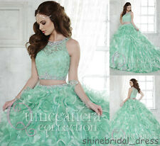 New Sweet 16 Two Pieces Wedding Prom Ball Gown Mint Quinceanera Dresses Custom