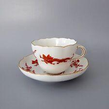 Meissen Reicher Drache rot goldschattiert Goldrand Kaffeetasse 2tlg 2. Wahl  (D)