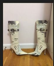 Women's Boots Pointy Stiletto White Denim Suede Leather Snake Skin El Dantes 36