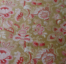 Antique French Indienne Jacobean Floral Cotton Fabric ~Berry Pink Red Soft Brown