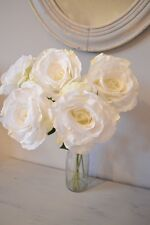 Bunch of 7 Vintage Ivory Artificial English Roses, Realistic White Silk Flowers