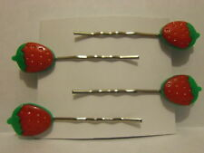 4 x Strawberry Hair Clips Hair Grips Clips Slides