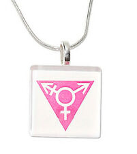 Transgender Pride Square Glass Pendant with Chain Necklace (Pink Design). LGBT