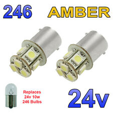 2 x Amber 24v LED BA15s 246 R10W 8 SMD Number Plate Interior Bulbs HGV Truck
