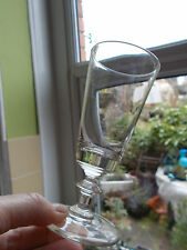 VINTAGE KNOPPED STEM WINE/HOCK GLASS WITH GROUND PONTIL(REF48.1)