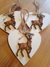 3 Christmas Decorations Shabby Chic Nordic Country Reindeer Neutral