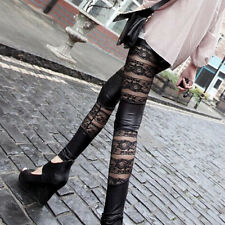 Woman Faux Leather Lace Up Punk Gothic Cluewear Black Tight