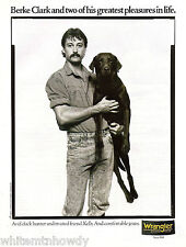 1990 BLACK LABRADOR RETRIEVER w/ his duck hunter~WRANGLER JEANS Photo AD