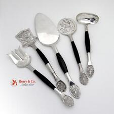 Unique Hand Made Five Piece Serving Set Sterling Silver Wood 1960