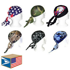 6 LOT Assorted Designs SKULL CAP BIKER DOO DO DU RAG DURAG TIE BACK HAT! #E0422