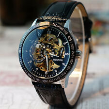 Men's Hollow Skeleton Automatic Mechanical Stainless Steel Waterproof Wristwatch