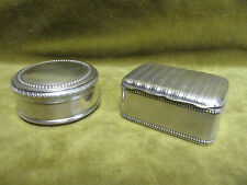 19th c french 800 silver 2 rectangular & round pill boxes 52 & 41g