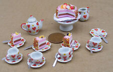 1:12 Ceramic 23 Piece Dolls House Miniature Tea Set With A Heart Motif & Cake