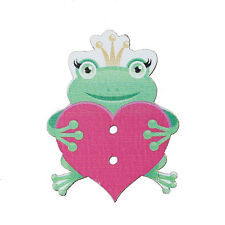 10 Wood Novelty Frog & Heart Sewing Buttons  34 x 26mm, crafts scrapbook Free P&