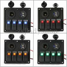 12/24V 4 Gang LED Rocker ON-OFF Switch Panel Circuit USB Charger Marine Boat RV