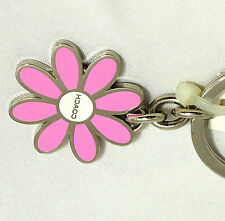 NEW Coach Enamel Daisy Flower Floral Pink Purse Charm Key Chain Ring Fob 7355