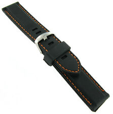 22mm Trendy Black Orange Stitched Rubber Silicone Waterproof Watch Band Strap V2