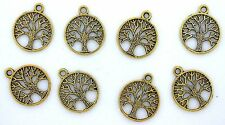 TEN  3/4 inch TREE OF LIFE ANTIQUED GOLD COLOR FOCAL PENDANT CF714