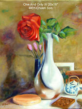 Original Floral Oil Painting Still-Life Rose - One And Only (ii) 2000-Now Artist