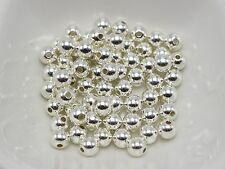500 Bright Silver Metallic Acrylic Round Spacer Beads 6mm Smooth Ball Beads
