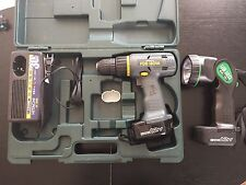 Hitachi 12V Cordless Drill and Flashlight Two Batteries, charger and hard case