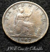 1867 Queen Victoria Young Head Farthing Coin - Great Britain,