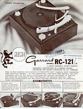 """Vintage GARRARD Ad Sales Sheet: The New """"MODEL RC-121/II"""" Record Player"""