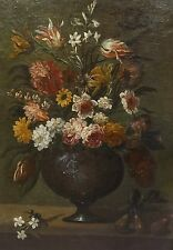 Fine Large Dutch 17th Century Still Life Flower Old Master Antique Oil Painting