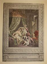 """Erotik-Französische Farbradierung""""Le Lever""""-Anonymus-um 1910-35,5x25 cm auf Bütt"""