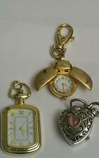 ESTATE FIND LOTS OF 3 LADIES POCKET WATCHES FOR PARTS & REPAIR -VINTAGE